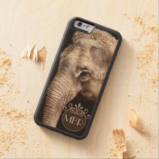 Elephant Photo Image Personalize Monogram Carved Maple iPhone 6 Bumper Case