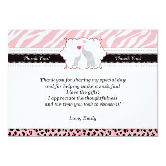 Elephant Pink Baby Shower Flat Thank You Card Personalized Invite