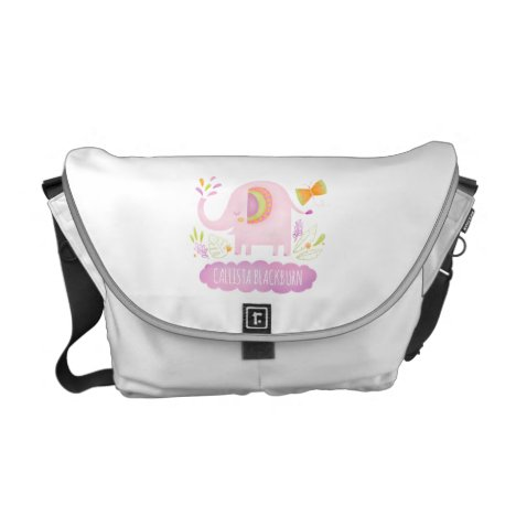 Elephant Pink Cute Personalized Diaper Bag