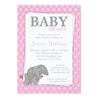 Elephant Pink Dots Girl Baby Shower 5x7 Paper Invitation Card