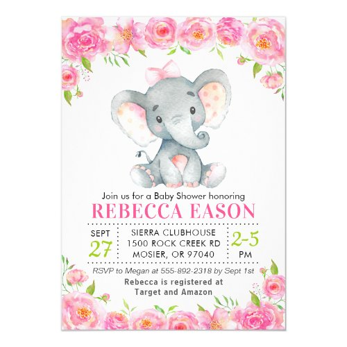 Elephant Pink Floral Baby Girl Shower Sprinkle Invitation