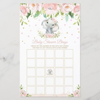 Pink Elephant Baby Shower Bingo for Girls Game