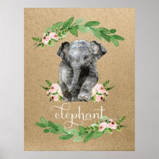 Elephant Pink Floral Nursery Print