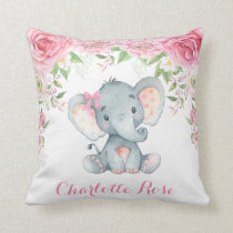 Elephant Pink Floral Roses Baby Girl Nursery Decor Throw Pillow