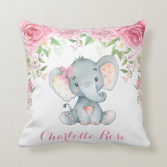 Elephant Pink Fl Roses Baby Nursery Decor Throw Pillow