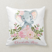 Elephant Pink Flowers Baby Girl Nursery Decor Throw Pillow