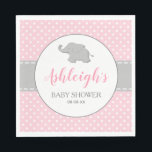 "Elephant Pink Gray Polka Dot Girl Baby Shower Napkin<br><div class=""desc"">These girl&#39;s baby shower paper napkins feature a cute gray baby elephant silhouetted on a gray-bordered white circle. The name of the mother-to-be appears in pink cursive script typography, with the words &quot;Baby Shower&quot; and the date below in gray. The pink polka dot pattern background is bisected by a gray...</div>"