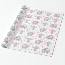 Elephant Pink Gray Safari Animal Baby Girl Shower Wrapping Paper