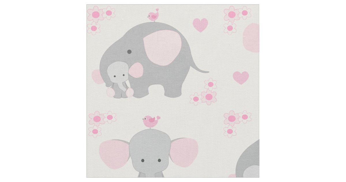 Elephant Pink Gray Safari Animal Nursery Baby Girl Fabric