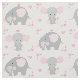 Elephant Pink Gray Safari Animal Nursery Baby Fabric