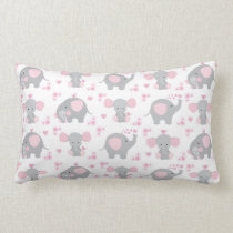 Elephant Pink Gray Safari Animal Nursery Baby Girl Lumbar Pillow