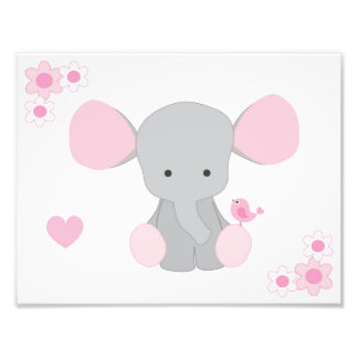 Elephant Pink Grey Gray Nursery Baby Girl Wall Art