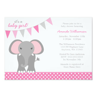 Elephant Pink Polka Dot Banner Girl Baby Shower Card