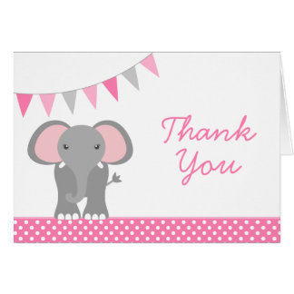 Elephant Pink Polka Dot Banner Thank You Card