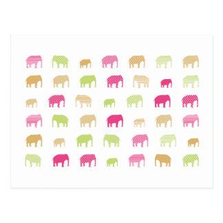 elephant pink postcard