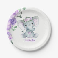 Elephant Plate for Baby Shower, Birthday, purple