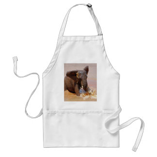Elephant playing with water adult apron