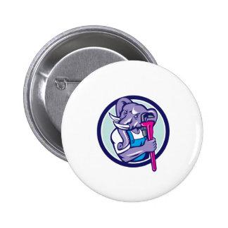 Elephant Plumber Mascot Monkey Wrench Circle Retro 2 Inch Round Button