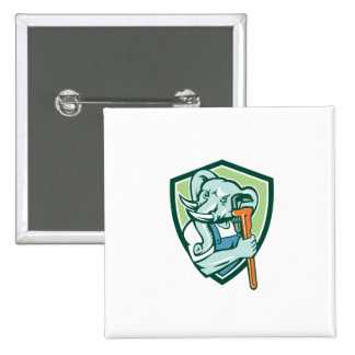 Elephant Plumber Mascot Monkey Wrench Shield Retro 2 Inch Square Button