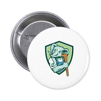 Elephant Plumber Mascot Monkey Wrench Shield Retro 2 Inch Round Button