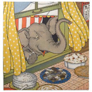 elephant poking his head through the window cloth napkin