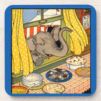 elephant poking his head through the window coaster