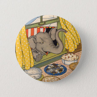 elephant poking his head through the window pinback button