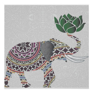 Elephant Poster Indian Bohemian Design With Lotus