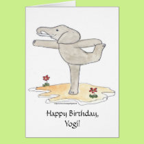 Elephant Practicing Yoga Dancer's pose Card