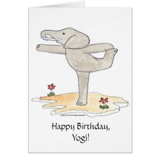 Elephant Practicing Yoga Dancer's pose Card
