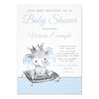 Boy Elephant Prince Baby Shower Invitation | Zazzle com