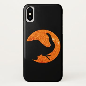 Halloween Themed Elephant Profile Solar Eclipse iPhone X Case