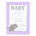 Elephant Purple Dots Girl Baby Shower Card