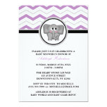 Elephant Purple Gray Chevron Baby Shower Invitation