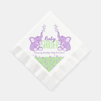 Elephant purple green name baby shower napkins