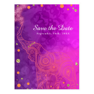 Elephant Purple Pink Orange & Gold Save the Date Postcard