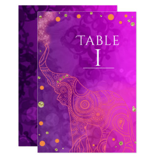 Elephant Purple Pink Orange & Gold Table Number