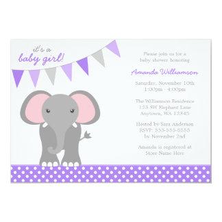 Elephant Purple Polka Dot Banner Girl Baby Shower Card