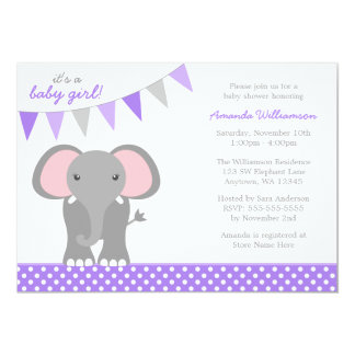 Elephant Purple Polka Dot Banner Girl Baby Shower Personalized Announcement