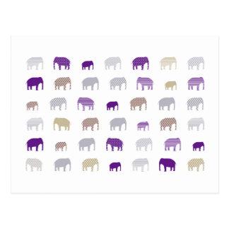 elephant purple postcard