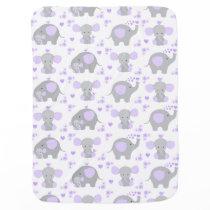 Elephant Purple Safari Animal Nursery Baby Girl Swaddle Blanket