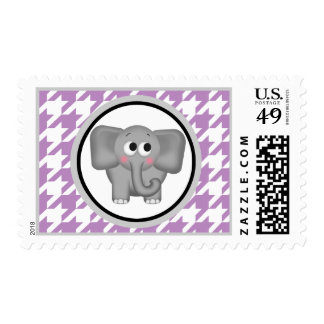 Elephant Purple & White Houndstooth Postage Stamps