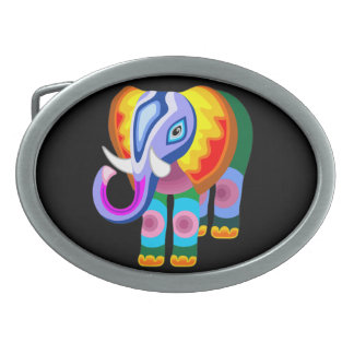Elephant Rainbow Colors Patchwork belt buckle