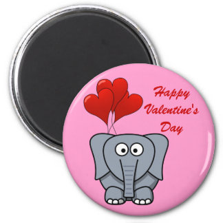 Elephant Red Heart Balloons Happy Valentine's Day 2 Inch Round Magnet