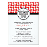 Elephant Red & White Houndstooth Baby Shower Personalized Invite