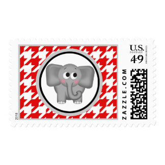 Elephant Red & White Houndstooth Postage Stamps