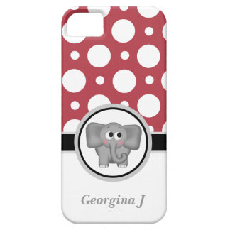 Elephant Red & White Polka Dot iPhone 5 Case