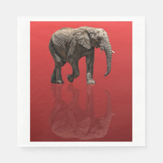 ELEPHANT REFLECTED ON RED STANDARD LUNCHEON NAPKIN