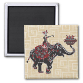 Elephant Rider 2 Inch Square Magnet