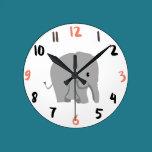 Elephant Round Clock